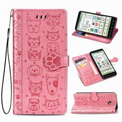 Embossing Dog Paw Kitten and Puppy Leather Wallet Case for Kyocera BASIO4 KYV47 - Pink
