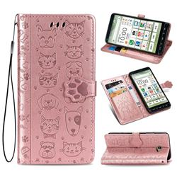 Embossing Dog Paw Kitten and Puppy Leather Wallet Case for Kyocera BASIO4 KYV47 - Rose Gold