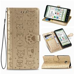 Embossing Dog Paw Kitten and Puppy Leather Wallet Case for Kyocera BASIO4 KYV47 - Champagne Gold