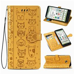 Embossing Dog Paw Kitten and Puppy Leather Wallet Case for Kyocera BASIO4 KYV47 - Yellow