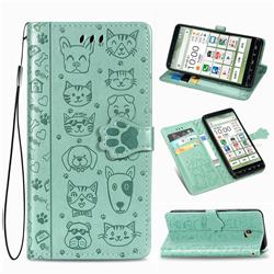 Embossing Dog Paw Kitten and Puppy Leather Wallet Case for Kyocera BASIO4 KYV47 - Green