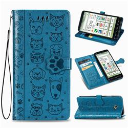 Embossing Dog Paw Kitten and Puppy Leather Wallet Case for Kyocera BASIO4 KYV47 - Blue