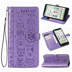 Embossing Dog Paw Kitten and Puppy Leather Wallet Case for Kyocera BASIO4 KYV47 - Purple