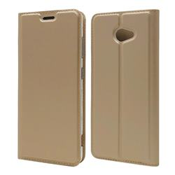 Ultra Slim Card Magnetic Automatic Suction Leather Wallet Case for Kyocera BASIO4 KYV47 - Champagne