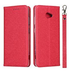 Ultra Slim Magnetic Automatic Suction Silk Lanyard Leather Flip Cover for Kyocera BASIO4 KYV47 - Red