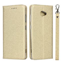 Ultra Slim Magnetic Automatic Suction Silk Lanyard Leather Flip Cover for Kyocera BASIO4 KYV47 - Golden