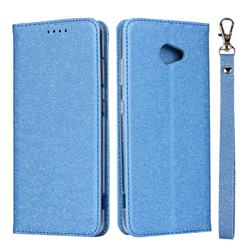 Ultra Slim Magnetic Automatic Suction Silk Lanyard Leather Flip Cover for Kyocera BASIO4 KYV47 - Sky Blue