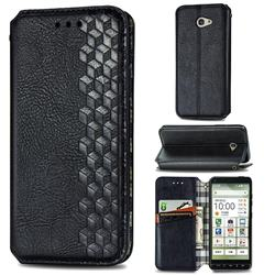 Ultra Slim Fashion Business Card Magnetic Automatic Suction Leather Flip Cover for Kyocera BASIO4 KYV47 - Black