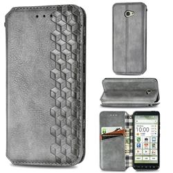 Ultra Slim Fashion Business Card Magnetic Automatic Suction Leather Flip Cover for Kyocera BASIO4 KYV47 - Grey