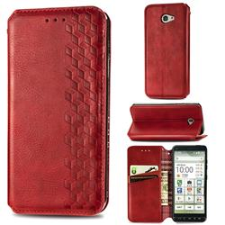 Ultra Slim Fashion Business Card Magnetic Automatic Suction Leather Flip Cover for Kyocera BASIO4 KYV47 - Red