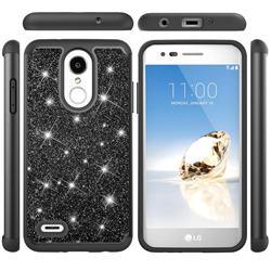 Glitter Rhinestone Bling Shock Absorbing Hybrid Defender Rugged Phone Case Cover for LG Aristo 2 - Black