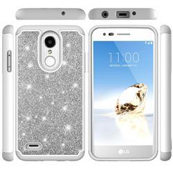 Glitter Rhinestone Bling Shock Absorbing Hybrid Defender Rugged Phone Case Cover for LG Aristo 2 - Gray