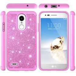 Glitter Rhinestone Bling Shock Absorbing Hybrid Defender Rugged Phone Case Cover for LG Aristo 2 - Pink