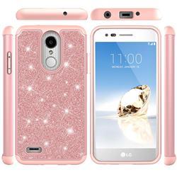 Glitter Rhinestone Bling Shock Absorbing Hybrid Defender Rugged Phone Case Cover for LG Aristo 2 - Rose Gold