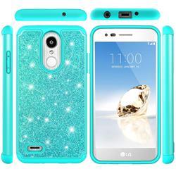 Glitter Rhinestone Bling Shock Absorbing Hybrid Defender Rugged Phone Case Cover for LG Aristo 2 - Green