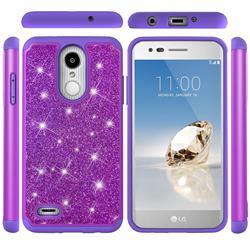 Glitter Rhinestone Bling Shock Absorbing Hybrid Defender Rugged Phone Case Cover for LG Aristo 2 - Purple