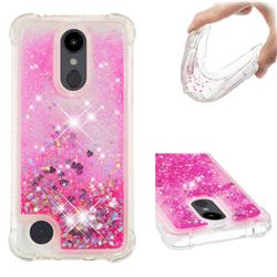 Dynamic Liquid Glitter Sand Quicksand TPU Case for LG Aristo 2 - Pink Love Heart