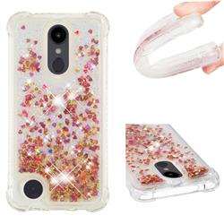 Dynamic Liquid Glitter Sand Quicksand TPU Case for LG Aristo 2 - Rose Gold Love Heart