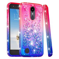 Diamond Frame Liquid Glitter Quicksand Sequins Phone Case for LG Aristo 2 - Pink Blue