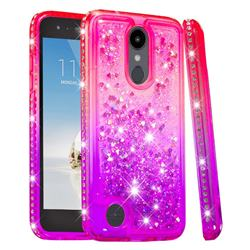 Diamond Frame Liquid Glitter Quicksand Sequins Phone Case for LG Aristo 2 - Pink Purple