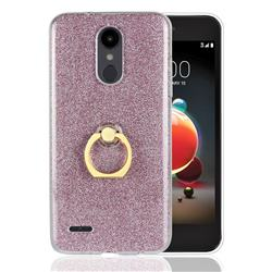 Luxury Soft TPU Glitter Back Ring Cover with 360 Rotate Finger Holder Buckle for LG Aristo 2 - Pink