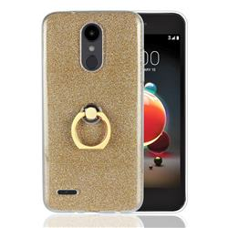 Luxury Soft TPU Glitter Back Ring Cover with 360 Rotate Finger Holder Buckle for LG Aristo 2 - Golden