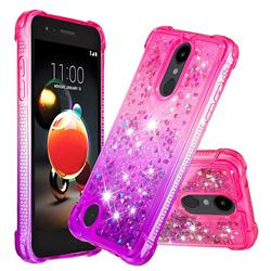 Rainbow Gradient Liquid Glitter Quicksand Sequins Phone Case for LG Aristo 2 - Pink Purple