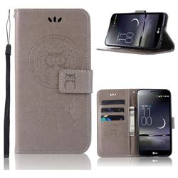 Intricate Embossing Owl Campanula Leather Wallet Case for LG Aristo 2 - Grey