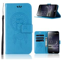 Intricate Embossing Owl Campanula Leather Wallet Case for LG Aristo 2 - Blue