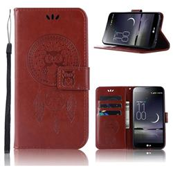 Intricate Embossing Owl Campanula Leather Wallet Case for LG Aristo 2 - Brown