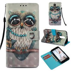Sweet Gray Owl 3D Painted Leather Wallet Case for LG Aristo 2