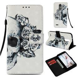 Skull Flower 3D Painted Leather Wallet Case for LG Aristo 2