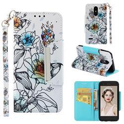 Fotus Flower Big Metal Buckle PU Leather Wallet Phone Case for LG Aristo 2