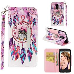 Owl Wind Chimes Big Metal Buckle PU Leather Wallet Phone Case for LG Aristo 2