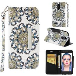 Phoenix Tail Big Metal Buckle PU Leather Wallet Phone Case for LG Aristo 2