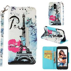 Lip Tower Big Metal Buckle PU Leather Wallet Phone Case for LG Aristo 2