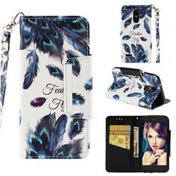 Peacock Feather Big Metal Buckle PU Leather Wallet Phone Case for LG Aristo 2