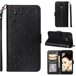 Embossing Fireworks Elephant Leather Wallet Case for LG Aristo 2 - Black