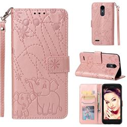 Embossing Fireworks Elephant Leather Wallet Case for LG Aristo 2 - Rose Gold