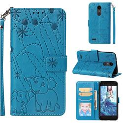 Embossing Fireworks Elephant Leather Wallet Case for LG Aristo 2 - Blue
