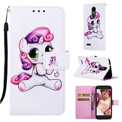 Playful Pony Matte Leather Wallet Phone Case for LG Aristo 2