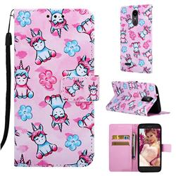 Unicorn and Flowers Matte Leather Wallet Phone Case for LG Aristo 2