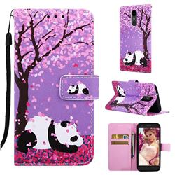Cherry Blossom Panda Matte Leather Wallet Phone Case for LG Aristo 2