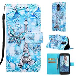Tower Butterfly Matte Leather Wallet Phone Case for LG Aristo 2