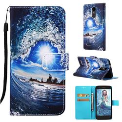 Waves and Sun Matte Leather Wallet Phone Case for LG Aristo 2