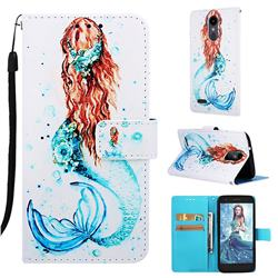Mermaid Matte Leather Wallet Phone Case for LG Aristo 2