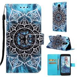 Underwater Mandala Matte Leather Wallet Phone Case for LG Aristo 2