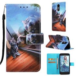 Mirror Cat Matte Leather Wallet Phone Case for LG Aristo 2