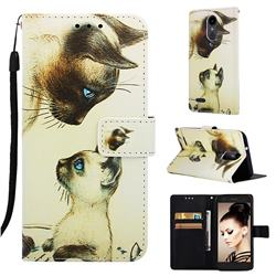 Cat Confrontation Matte Leather Wallet Phone Case for LG Aristo 2
