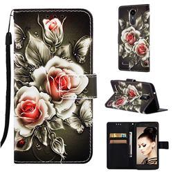 Black Rose Matte Leather Wallet Phone Case for LG Aristo 2